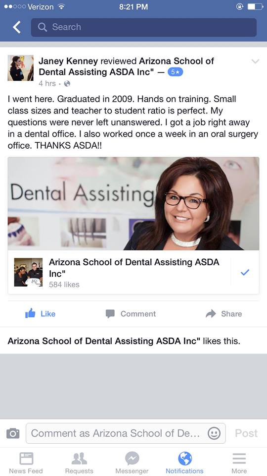 Testimonials From a past Dental Assistant Student